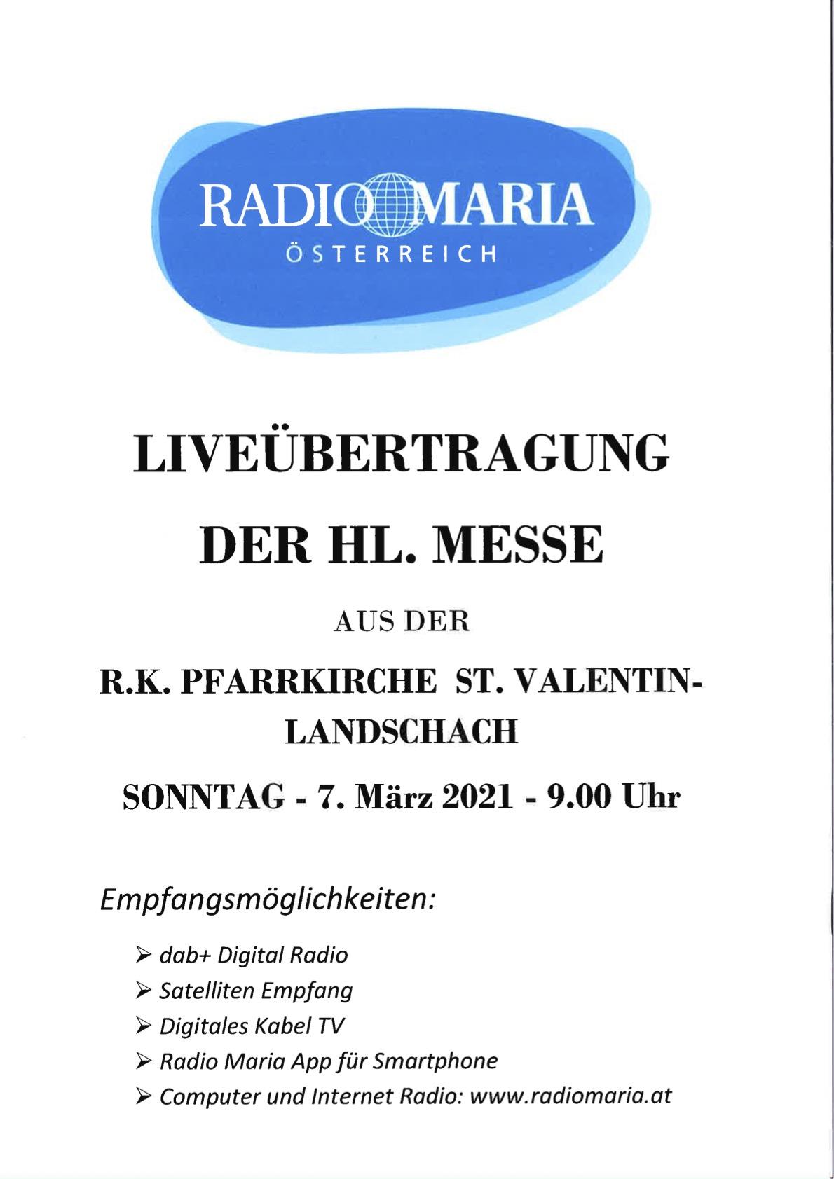 Übertragung Radio Maria