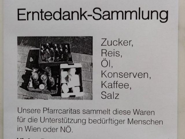 Caritas Erntedank-Sammlung Pfarre Sankt Valentin Landschach 2021